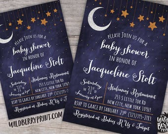 Over the Moon Starry Night Baby Shower Invitation with Free Shipping or Personalized Printable | OTM