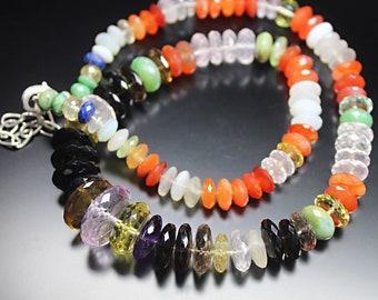 "Natural Multi Quartz Amethyst Chrysoprase Gemstone Rondelle Beads Necklace 18"" - Jewelry Making"