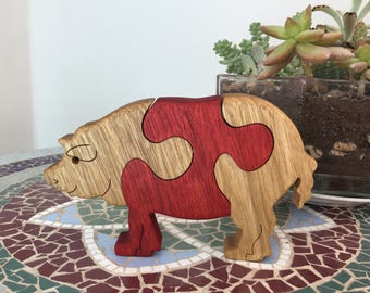 Wooden toy, Wooden puzzle, Kids gift, Pig puzzle, Wood toy, Wooden animal puzzle, Jigsaw puzzle, Wood working, Gift for kids, Farm animal.