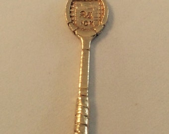 10k yellow gold badminton racket charm vintage antique # 1013