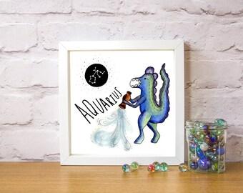 Aquarius Zodiac Sign Printable Wall Art, Constellation, Star Sign, Horoscope Printable Art, Astrology, Instant Download, Home Decor, 10x10