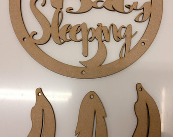 Shhhh Baby Sleeping mdf Dream Catcher