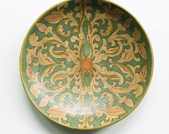 decorative hand-painted wooden plate - floral design on pale teal green background