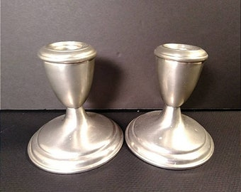 Vintage Empire Pewter Weighted Candlestick Holders Set