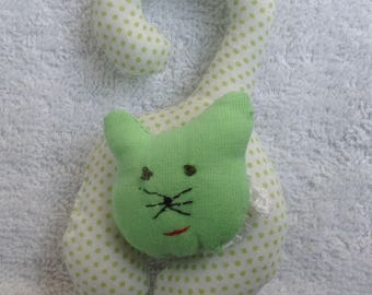 Mini cat rattle toy for little hands 11 X 6 cm embroidery viage hand crochet no dander chain Choker