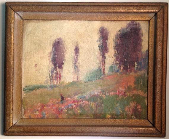 Ca 1917-1921 - Arthur Rozaire - Figure on a Hillside with Flowers
