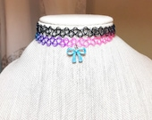 Rainbow Tattoo Choker, Bo...