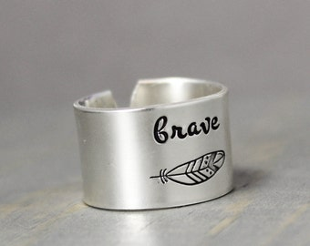 Brave Ring, Silver Feather Ring, Silver Ring, Sterling Silver Ring,  Personalized Ring, Hand Stamped Ring, Personalized Jewelry