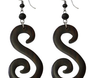 Tribal Earrings from sono wood, large Brown strudel, stainless steel bracket No. OH-14