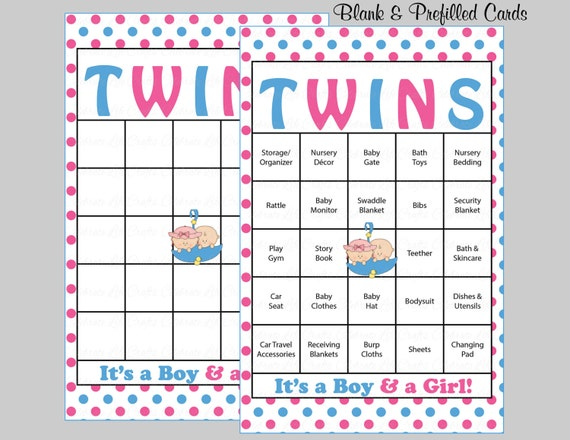 60 Twins Baby Shower Bingo Cards   60 Prefilled Bingo Cards   Boy Girl Twins  Shower Game   Pink Blue Printable Download   B25001