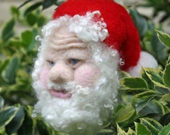 Needle Felted Santa Ornament  Wool Sculpture Ornament Christmas Ornament Collectible Ornament