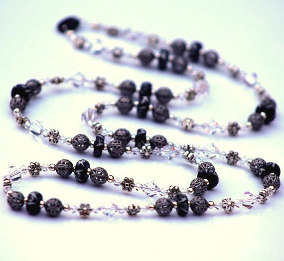 Long Crystal Necklace, Long Black Necklace, Silver Beaded Necklace, Elegant Necklace with Clear Crystals