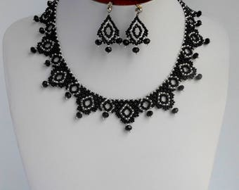 Black necklaces for women Beaded necklace Beaded jewelry necklace Weaving beads necklace Handmade Bib necklace Bohemian necklace Choker