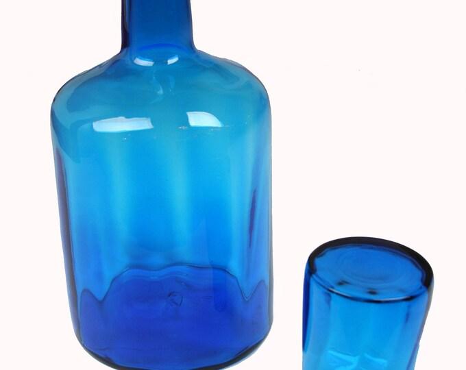 Mid Century Modern Architectural BLENKO Cobalt BLUE GLASS Decanter