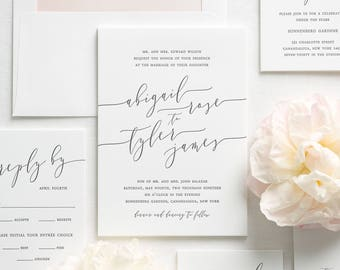Romantic Calligraphy Letterpress Wedding Invitations - Deposit