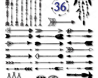 Arrow SVG, PNG, DXF, Eps Cutting Files, Arrow Clipart, Heart Arrow Svg , Decorative arrow, tribal arrow svg, tribal svg, boho arrow svg