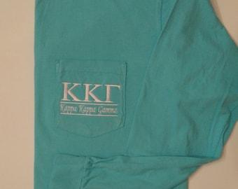 Kappa Kappa Gamma, Sorority T Shirt, Pocket T Shirt, Greek T Shirt, Monogrammed Pocket T, Personalized T Shirt