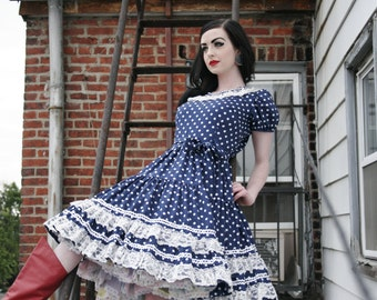 Authentic Vintage 60s Navy Polka Dot Square Dance Dress