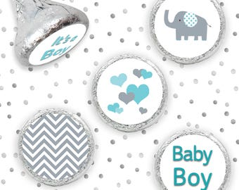 Blue Elephant Baby Shower Favors - Teal Blue and Gray Elephant Baby Shower Decorations - Boy Baby Shower Stickers for Hershey Kisses - 324ct