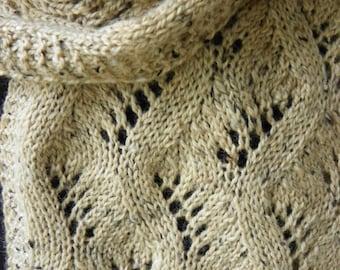 "Pattern to Knit Lace Scarf ""Traveling Along""  DK weight yarn PDF"