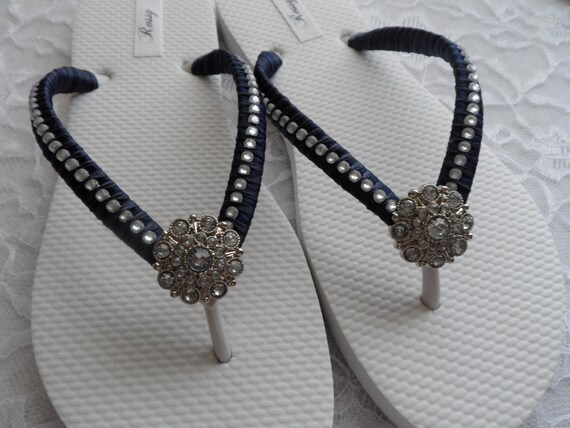 Flops Flip Rhinestones Blue Flops Flip Navy Bridesmaids Colors Flip Flops Flops Beach Wedding Bridal Flip qxtwdFdvPY