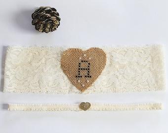 Rustic Garter, Burlap Garter, Garter Set Monogrammed, Garter Wedding, Bride Garter Ivory, Bridal Shower Gift, Heart Garter, Barn Wedding