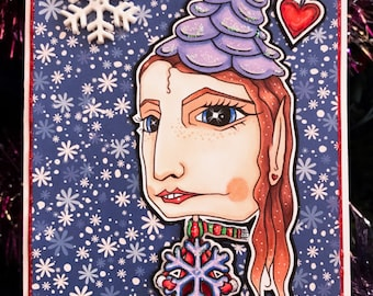 Oddleigh Snowflake Elf & Snowflakes digi stamp set of 2 images by LeighSBDesigns