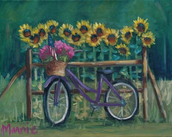 Bicycle Stand, country art, rural art, new england art, ready to hang, oil painting, original art