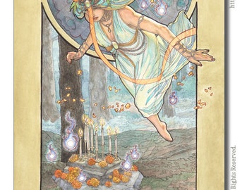 Art Print Lady of October Goddess with Will-O-the-Wisps Spirits Marigolds and Opal Birthstone Series Art Nouveau Painting