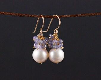 Freshwater Pearl Tanzanite Earrings, Gold Filled, Gemstone Cluster, White Purple Lilac Lavender, June Birthstone, Drop Dangle Earrings