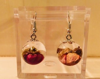 Hand made resin earrings with red rose bud