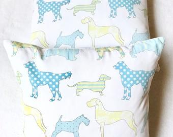 Decorative children's dog accent pillow cover, puppy, toddler pillow, toss pillow, throw pillow, bed pillow, blue and green