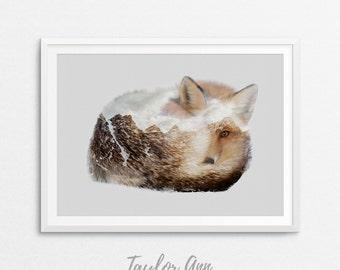 Fox Print, Woodlands Decor, Wilderness Wall Art, Animal Print, Printable Art, Woodlands Nursery Decor, Digital Download, Fox Wall Art