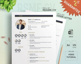 Proffesional Resume CV Design Template with Cover Letter - for Microsoft Word - Special Offer : Design Formating Service - CVCL-002-EG