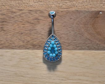 Aqua Gem Beaded Teardrop Belly Button Ring Navel Body Piercing Jewelry