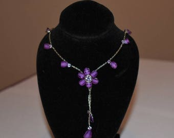 Lovely purple, pink and silver flower pendant necklace