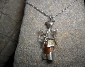 "Pendant in sterling silver and copper ""Doll"""