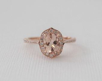 1.50 Ct. Oval Morganite Diamond Cushion Halo Ring in 14K Rose Gold