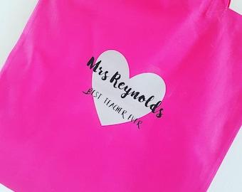 Teacher Thank You Tote Bag, Market Bag, Teacher Shopping Bag, End of Year Gift, Cotton shopping bag, Pink Bag