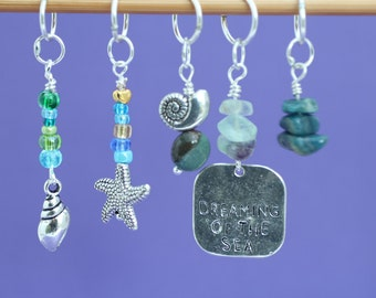 Dreaming of the Sea Stitch Marker Set, Knitting or Crochet Markers, Gift for Knitters, Knitting Tools, Seaside Theme Markers, Crochet Tools