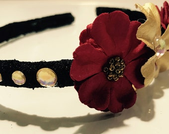 Red and Gold Flower Headband with Gemstones