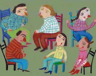 Musical chairs / ORIGINAL ILLUSTRATION /Children decor/ kids art / pastel drawing