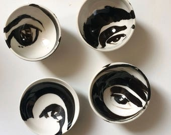 Abstract Eye Bowls, Set of Four White and Black Bowls made in Porcelain for the Modern Home. Simple and Elegant, Dipping Bowl