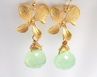 Green Earrings, Mint, Apple Green, Chalcedony Earrings, Gold Orchid Earrings, Gold Filled Earrings, Bridesmaid Gifts, Bridesmaid Earrings