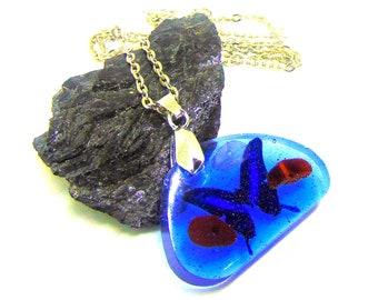 Pendentif Papillon oeil de taureau et quartz rose