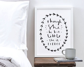 A3 Motivational Typography Print - She be fierce quote print - William Shakespeare quote print - inspirational wall art - home decor
