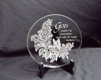 Glass god decorative plate with stand