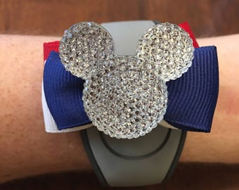 Patriotic Magic Band Bow - select COLOR combo & EMBELLISHMENT option