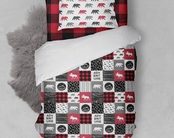 Twin/Full Boys Bedding Duvet Cover Comforter Sheets Adventure Bear Moose Buffalo Plaid Camping Hunting Woodland