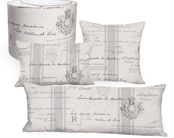 Grey French Country Famous France Signature Script Square or Long Accent Pillow Cover - 12x20 14x26 14x36 16x26 16x 18x 20x 22x 24x 26x 28x